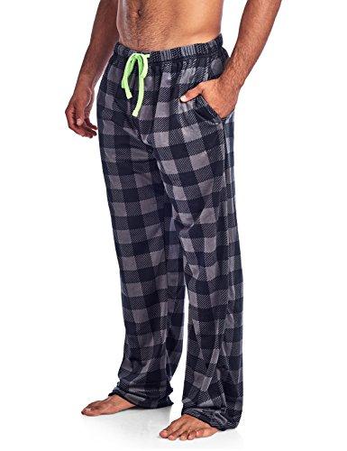 Check Fleece (Ashford & Brooks Men's Mink Fleece Sleep Lounge Pajama Pants - Charcoal Buffalo Check - 2X-Large)