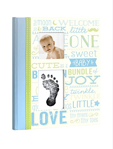 Little Blossoms Vintage Baby Memory Book with an Included Clean-Touch Ink Pad to Create Baby's Handprint or Footprint, Blue