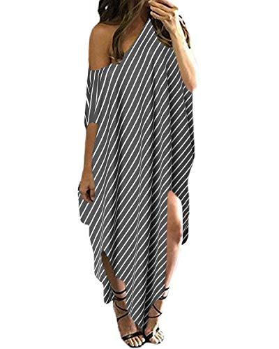 Kidsform Women Maxi Dress Striped Long Dresses Casual Loose Kaftan Oversized Round Neck Off Shoulder Sundress Grey XS ()