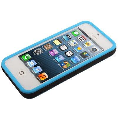 "iPhone 5 / 5S Premium Hülle / Case / Cover aus Silikon in blau / schwarz im ""2-Color-Style"" -Original nur von THESMARTGUARD-"