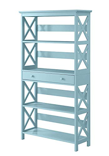 Convenience Concepts 203051SF Oxford 5-Tier Bookcase with Drawer, Sea Foam ()