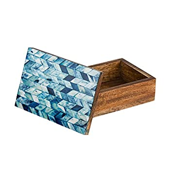 Matr Boomie Handmade Small Decorative Box with Chevron Mosaic Pattern Inlay