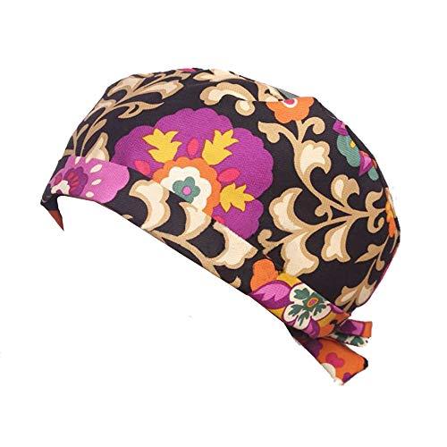 Opromo Flower Series Scrub Cap Womens Adjustable Tie Back Ponytail Hat Chemo Cap-Black Darmask