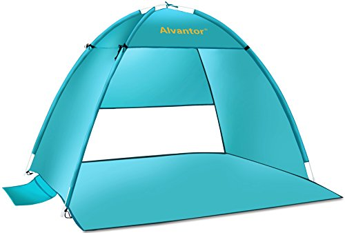 (Alvantor Coolhut Beach Tent Beach Umbrella Outdoor Sun Shelter Cabana Automatic Pop Up UPF 50+ Sun shade Portable Camping Fishing Hiking Canopy Easy Setup Windproof (PATENT PENDING) 7014V 1-3 Person)