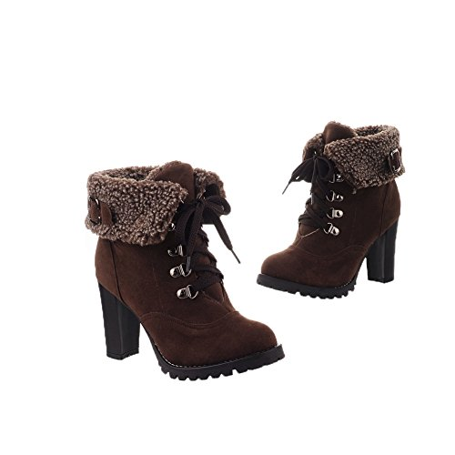 Chunky PU and Boots Round Heels and High Brown Solid Heels WeiPoot Womens Closed Toe Bandage with Platform FBUwqwx1g