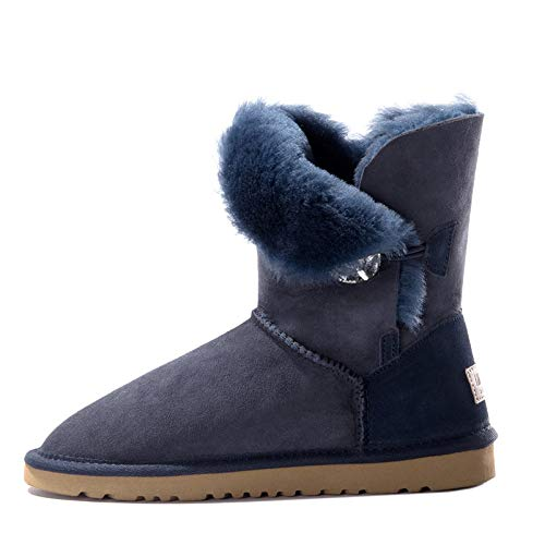 bluee Fumak Women Cow Suede Mid-Calf Boots Soft Genuine Leather Warm Wool Fur Snow Boots Women for Ladies Autumn Winter shoes Woman