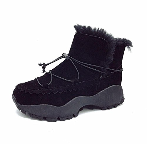 Black Corto Botas Zapatos De Tubo Además Meili Fondo Casual Mujer Algodón Cachemira Nieve Moda Grueso Calidez n0fZdFqFt