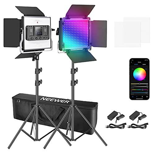 Neewer 2 Packs Luz LED RGB 660 con Control App Kit Iluminación Video y Fotografía con Soportes y Bolsa 660 SMD LED CRI95 / 3200K-5600K / Brillo 0-100% / 0-360 Colores Ajustables