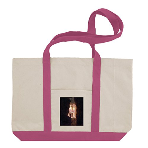 El Khasne, Petra (Church) Cotton Canvas Boat Tote Bag Tote - Hot Pink by Style in Print