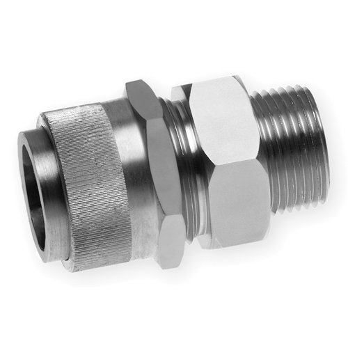 Woodhead 5528SS Cable Strain Relief, Stainless Steel Grip, Straight Male, Stainless Steel Body, 1/2'' NPT Thread Size, F2 Form Size.38–.44'' Cable Diameter