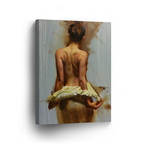 Half Naked Women Taking Off The White Dress Nude Sexy Lady Girl Oil Painting Canvas Print Decorative Art Wall Home Decor Artwork Gallery Wrapped Stretched Ready to Hang-%100 Made in ()