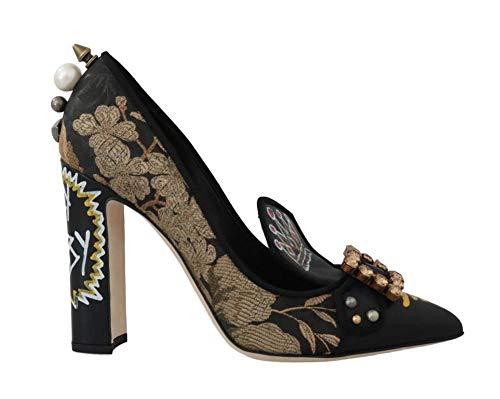 Dolce & Gabbana Black Gold Jacquard Crystal Pumps