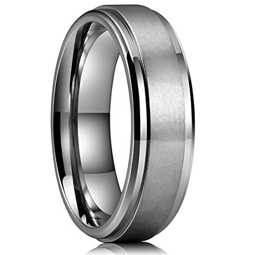 King Will Basic 6mm Mens Titanium Wedding Ring Brushed Finished Wedding Band Comfort Fit Stepped Edge 9