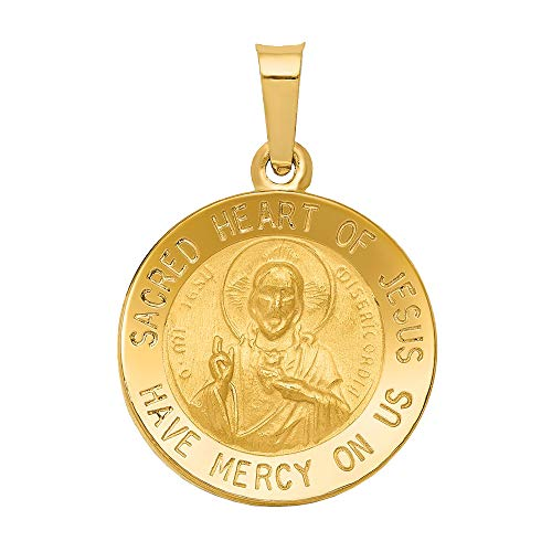 Nina's Jewelry Box 14k Yellow Gold Polished and Satin Sacred Heart of Jesus Medal Pendant