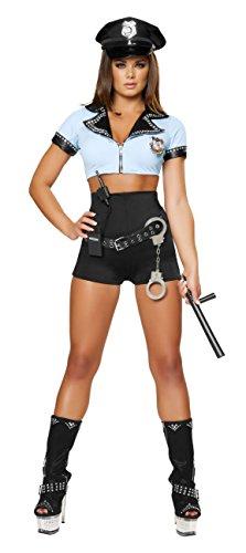 Roma Costume 8 Piece Sexy Police Woman Costume, Black/Blue, Small/Medium