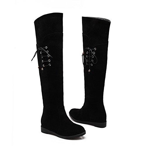 AllhqFashion Mujeres Sólido Gamuza(Imitado) Mini Tacón Sin cordones Puntera Redonda Botas Negro