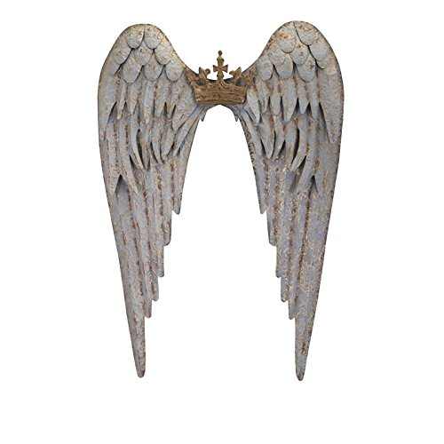 Imax 88704 Ella Wing Wall Decor - Gold Tipped Angel Wings with Crown - Metal Wall Hanging. Vintage Home Decor