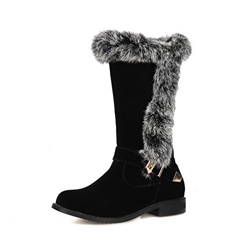 BalaMasa Girls Square Heels Buckle Anti-Skidding Bottom Ornamented Imitated Leather Boots Black P3oN4LH
