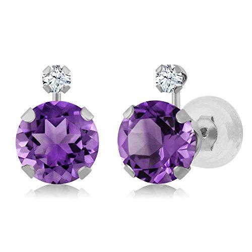 1.58 Ct Round Purple Amethyst White Created Sapphire 14K White Gold Earrings (Sapphire Purple Round)