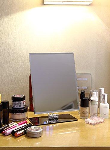 Miusco Large Vanity Makeup Mirror, Non-Magnifying, Beveled Edges, All Direction Swivel, Rectangle, Chrome
