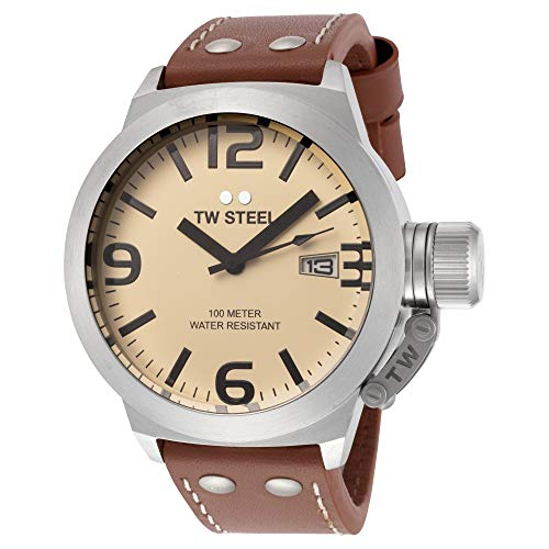 TW Steel Men s TW1 Canteen Brown Leather Yellow Dial Watch