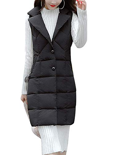 Womens Cotton Padded Lapel Collar Casual Slim Fit Snap Closure Thickened Long Puffer Outwear Down Vest Jacket