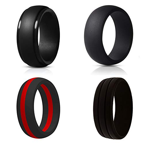 Style Mens Diamond - NNIOV Black Silicone Rings, Wedding Bands for Men, Geometric Metallic Wide Rubber Ring, Simple Comfortable Skin Safe - Lifetime Quality Promise (4 Packs Black Style, Size: 8.5-9 (18.9mm))