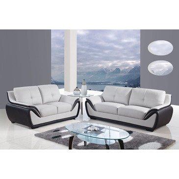 Global Furniture USA 3250 2 Piece Bonded Leather Living Room Set in Grey & Black