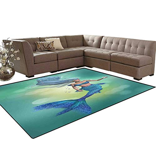Mermaid Decor Anti-Skid Area Rugs Mermaid Upper Body of a Woman and The Tail of a Fish for Swimming Customize Door mats for Home Mat 6'x8'