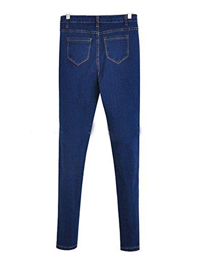 Matita Fit Jeans Alta Pantaloni Magro Sottile Blu Lunghi Vita Marino Donna q7ABA