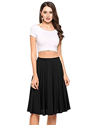 Zeagoo Women Casual Elastic Waist A Line Pleated Skirt Party Holiday Wear to Work Pleated Skirt