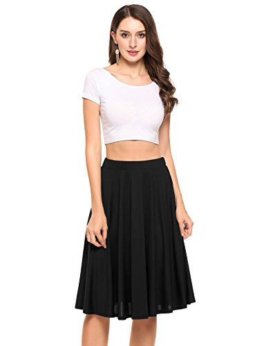 [해외]Zeagoo 여성 캐주얼 탄성 허리 라인 pleated 스커트 파티 휴일 착용 pleated 스커트/Zeagoo Women Casual Elastic Waist A Line Pleated Skirt Party Holiday Wear to Work Pleated Skirt