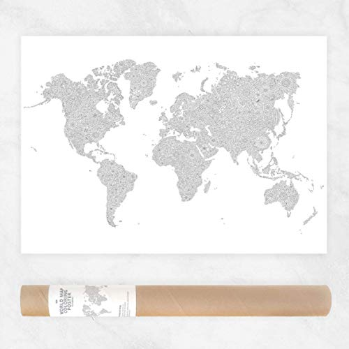 19x27 Coloring Map Of The World, Color World Map Small, Travel Map Color In Poster For Wall Art