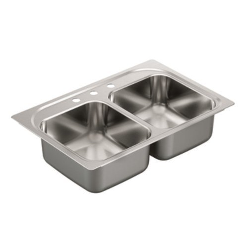 Moen G182133 1800 Series 18 Gauge Double Bowl Drop In Sink, Stainless Steel by Moen by Moen