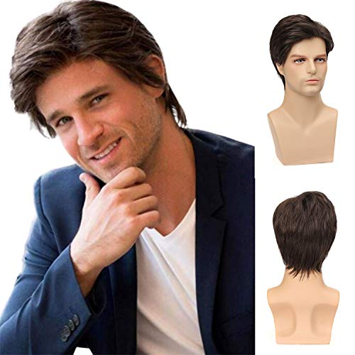 Mens Brown Wigs Short Layered Natural Synthetic Wig Costume Cosplay Halloween Wigs with Wig Cap