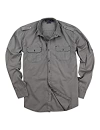 Men's Garment Dyed 100% Cotton Military Style Long Sleeve Shirt