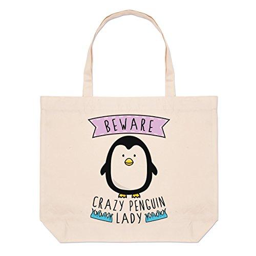 Beware Crazy Tote Penguin Bag Beach Large Lady Beware Crazy gRqP55