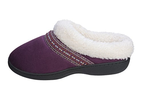 Joan Vass Womens Ultra Cozy Faux Suede Slipper Interno Ed Esterno Viola