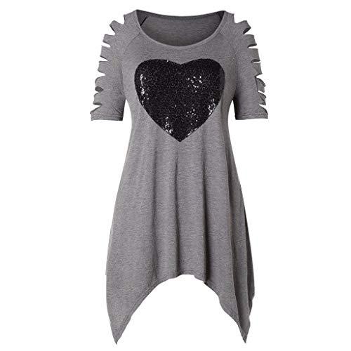 - Witspace Women Raglan Sleeve Love Sequin Irregular Hem T-Shirt Casual Loose Top Blouse
