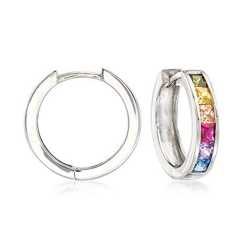 (Ross-Simons Multicolored Simulated Sapphire Huggie Hoop Earrings in Sterling Silver)