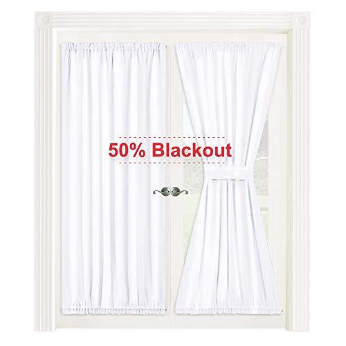 NICETOWN Pure White Patio Door Panel - 50% Sunlight Blocking French Door Curtain/Drape/Drapery (54