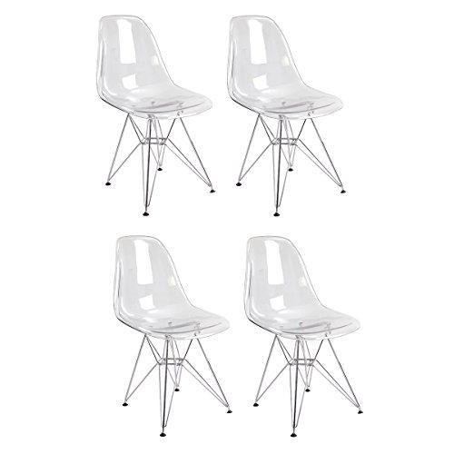 Cheap Ergo Furnishings Mid-Century Eiffel Tower Clear Acrylic Side Dining Chair Chrome Base (Set of 4)
