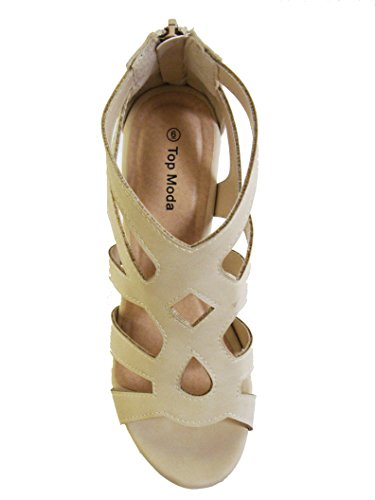 Ella 15 Womens Strappy Open Toe Platform Wedge Beige 6