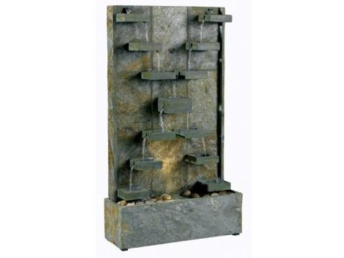Kenroy Homes 50375SL Watercross Outdoor Floor Fountain, Natural Slate ()