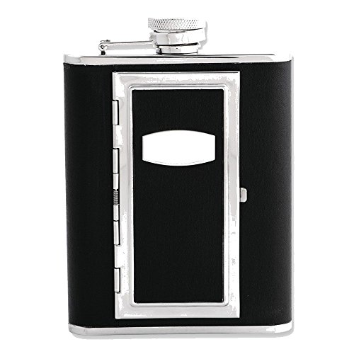 (Goldia Black Faux Leather Flask Cigarette Holder with Funnel - Engravable Gift Item, NEW)