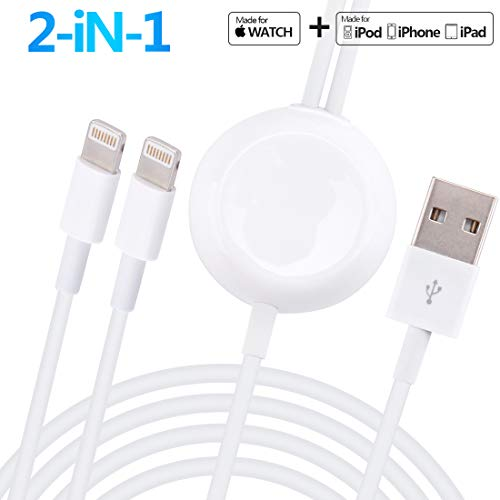 Apple Watch Charger, ATETION 3 in 1 iPhone and Airpods Charging Case Charging Wireless Portable Charging Cable Compatible with Apple Watch Series 1 2 3 4 38mm 40mm 42mm 44mm - Charger X Case 2