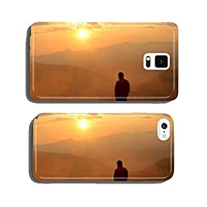 Man and dog at sunset cell phone cover case iPhone5