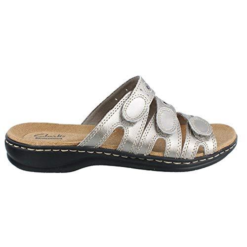 (CLARKS Women's Leisa Cacti Slide Sandal, Pewter Leather, 8.5 N US)