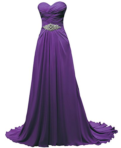Train Wedding Gown Chiffon - Solovedress Women's a Line Long Chiffon Formal Prom Evening Dress Bridesmaid (Us 18,purple)