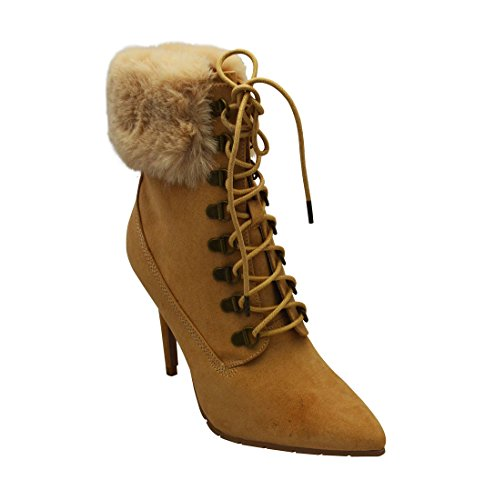Suede Scorpio Fur Faux Faux Collar Womens 05 Stiletto Toffee Boots Qupid Ankle xPnq74w7